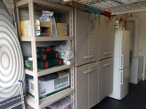 This four shelf modular storage unit is ideal for the garage.