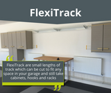 Garageflex FlexiTrack are strips of panel to fix to your garage wall