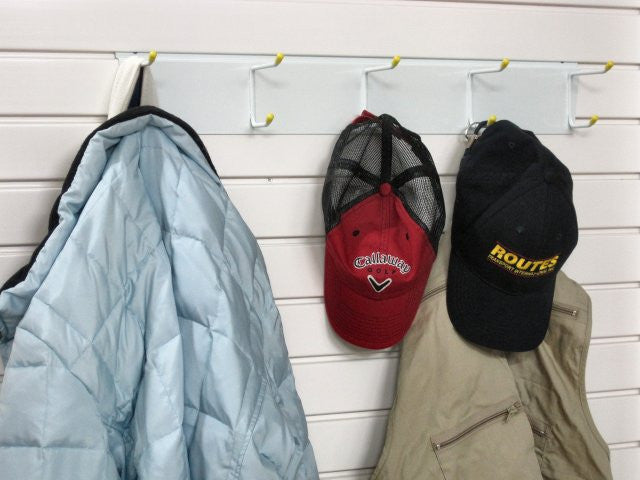 Hat and Coat Rack - store items on your garage wall by Garageflex