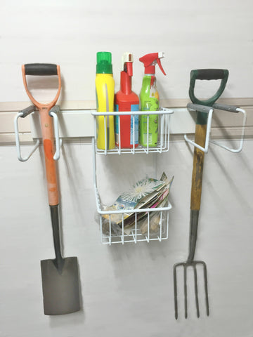 Garageflex Gardening Rack on FlexiTrack, perfect for storing your gardening tools and supplies