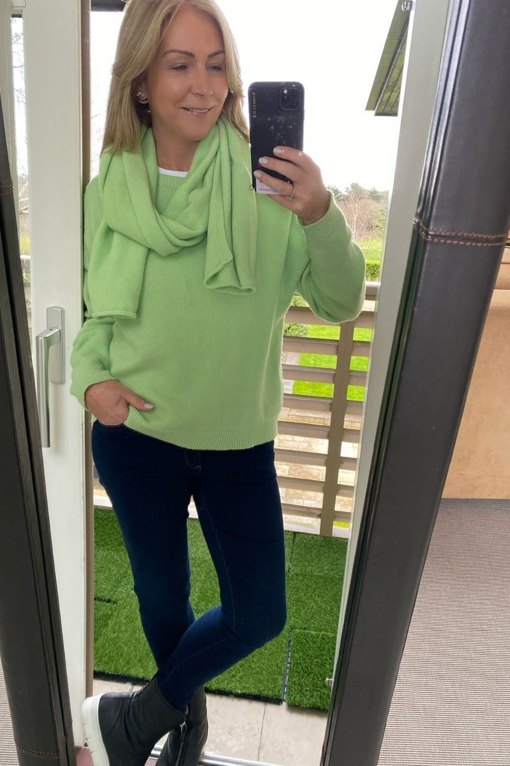 Apple Green Long sleeve Round Neck