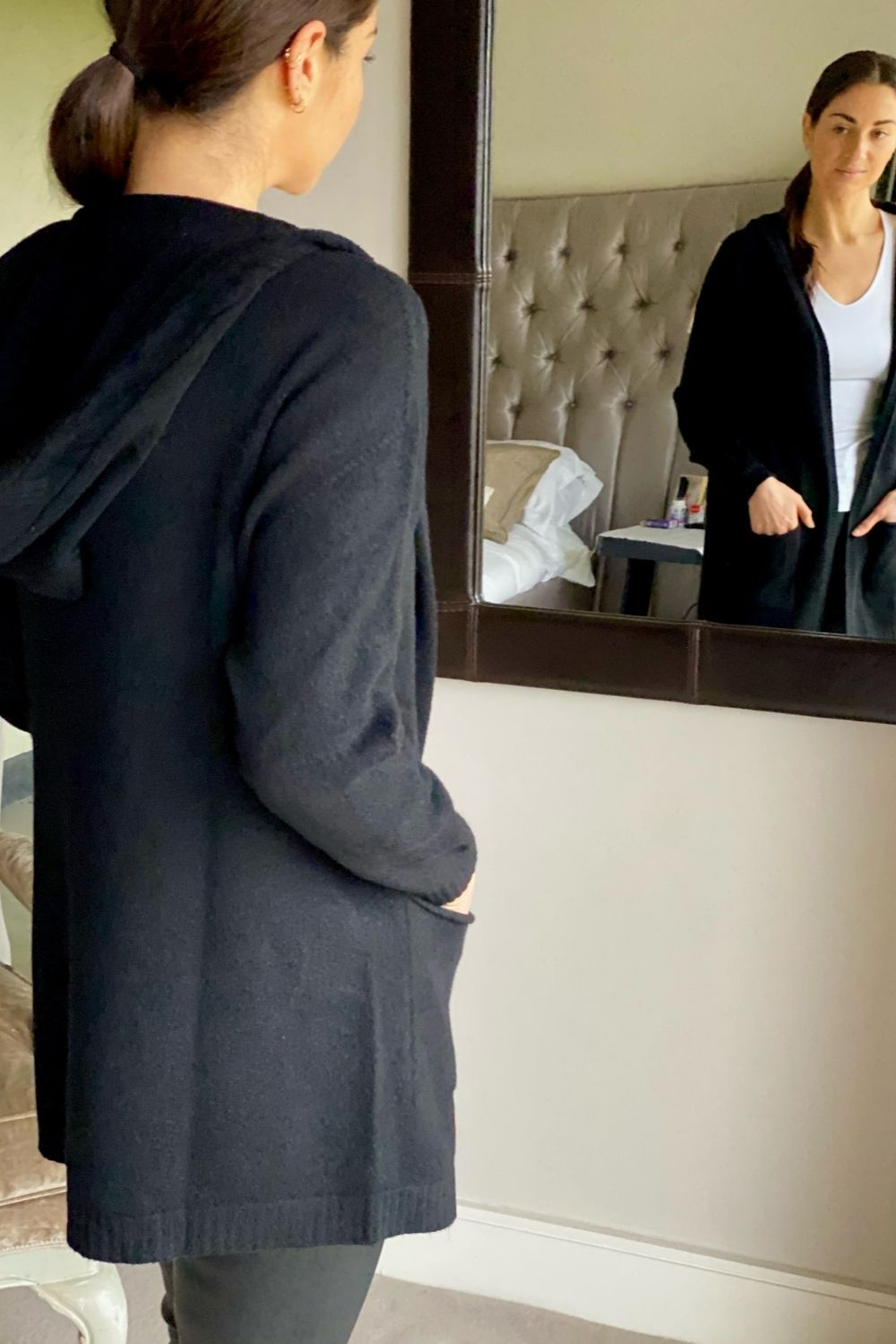 Black Long Two Pocket Hooded Cardi