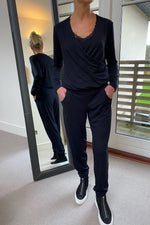 Load image into Gallery viewer, Wrap Front Jumpsuit in Black