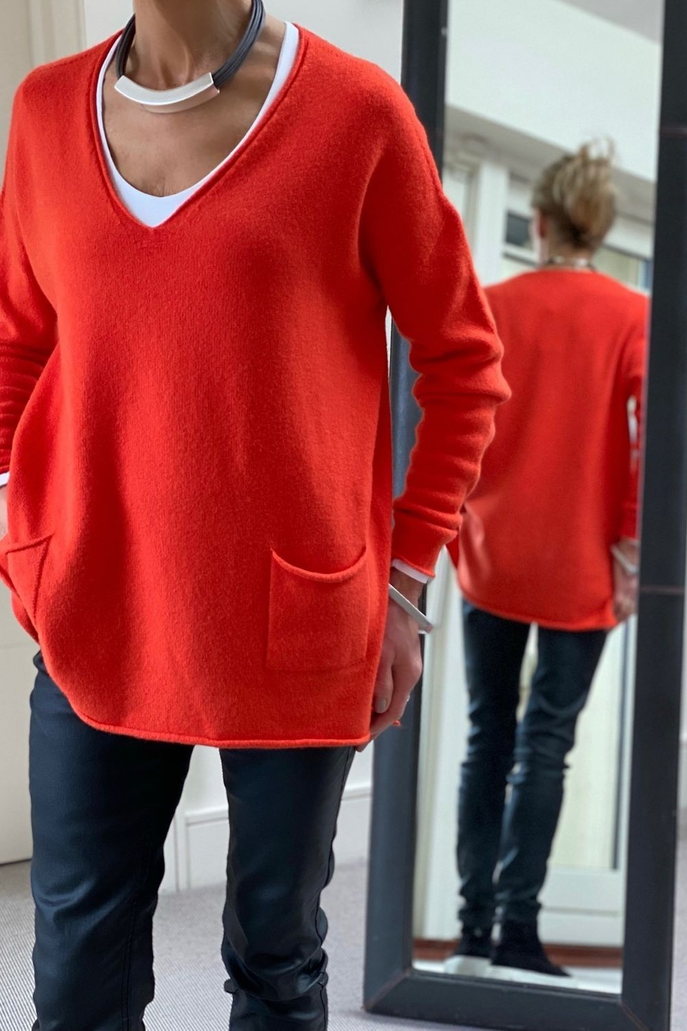 Burnt Orange Oversize V-Neck Two Pocket Sweater