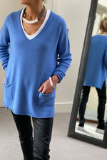 Load image into Gallery viewer, Cornflower Oversize V-Neck Two Pocket Sweater