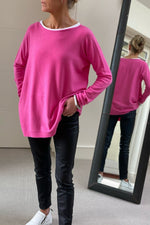 Load image into Gallery viewer, Fuchsia Audrey Boat Neck
