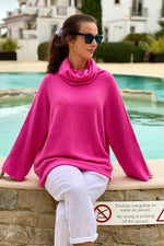 Load image into Gallery viewer, Fuchsia Oversized Cowl Polo