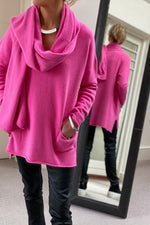 Load image into Gallery viewer, New Oversize V-Neck Two Pocket Sweater in Fuchsia