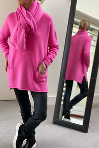 New Oversize V-Neck Two Pocket Sweater in Fuchsia