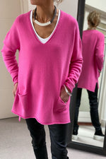 Load image into Gallery viewer, Fuchsia Oversize V-Neck Two Pocket Sweater