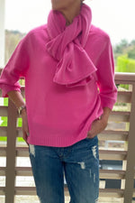 Load image into Gallery viewer, Fuchsia Knit Scarf