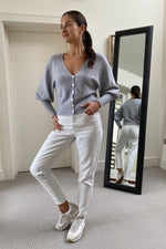Load image into Gallery viewer, Soft Grey Bell Sleeve Short Cardi