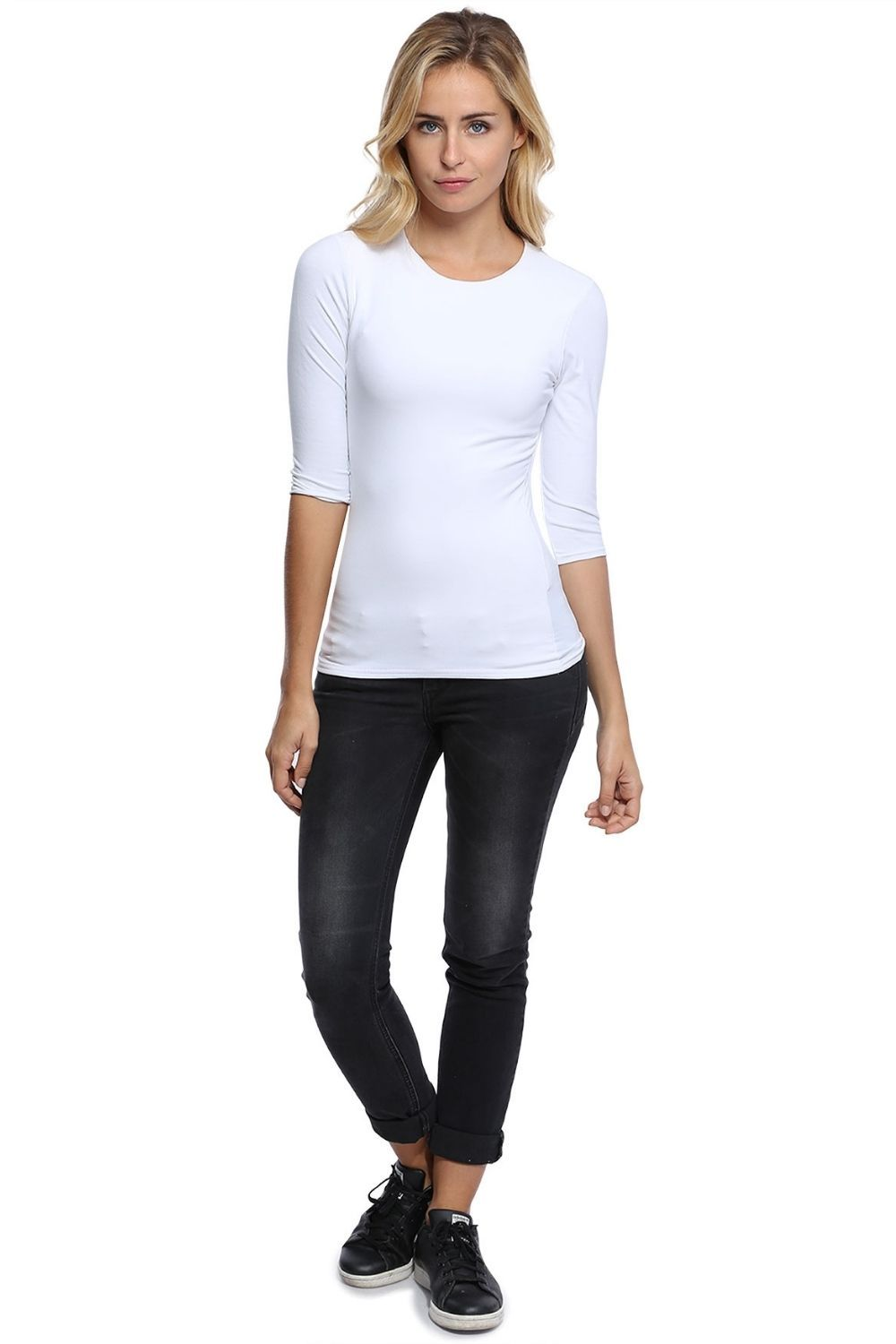 Kate Mid Length 3/4 Length Sleeve Tshirt in White