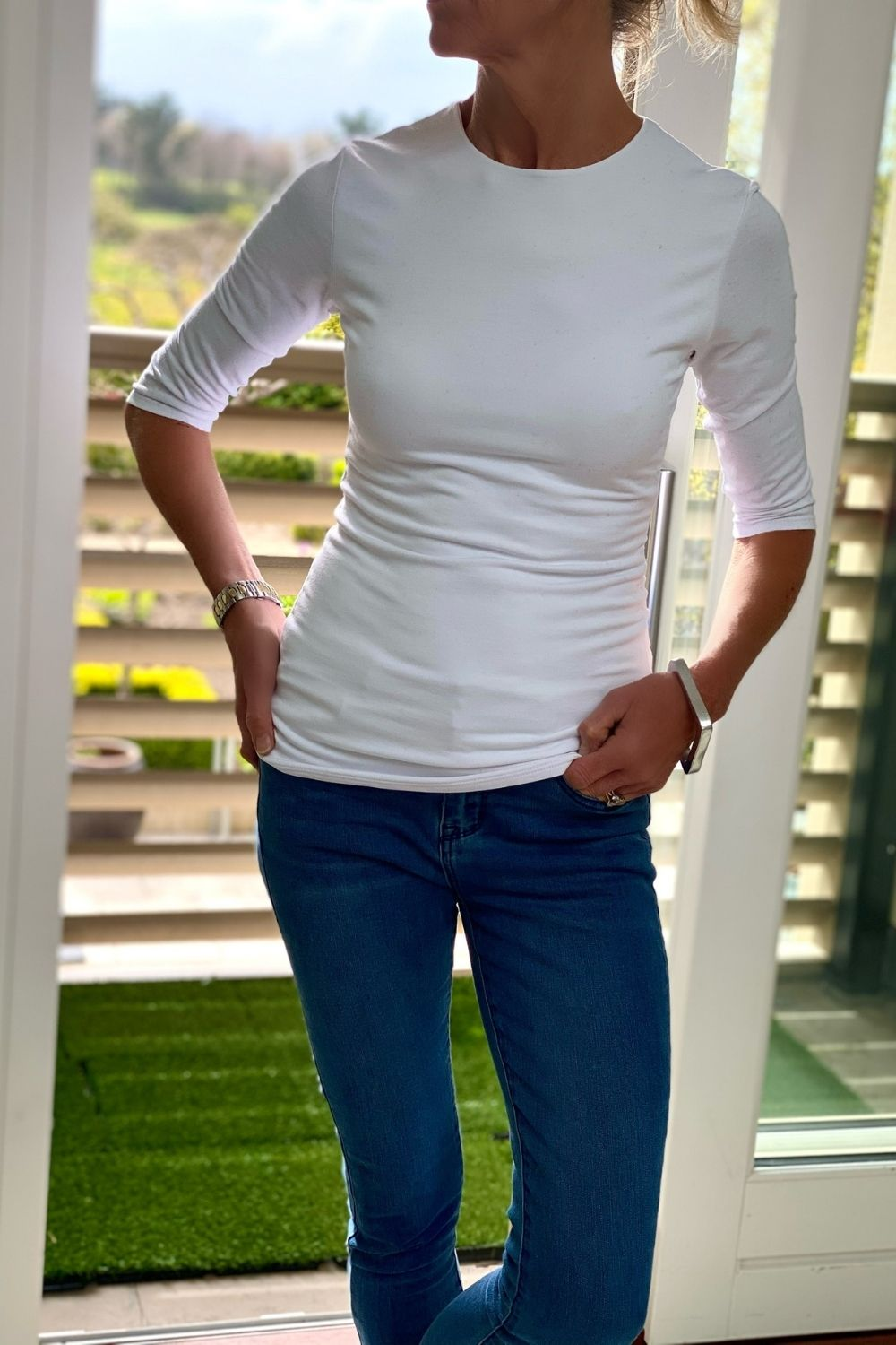 Katia 3/4 Length Sleeve Tshirt in White