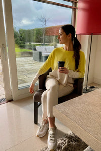 Leila Summer Yellow and Cream Sweater