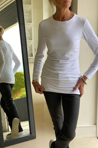 Katia Long Length Round neck T-shirt in White