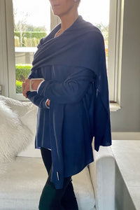 Cashmere Big Wrap in Midnight Blue