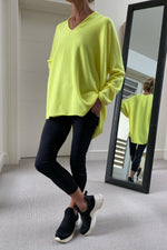 Load image into Gallery viewer, Neon Yellow Oversize V-Neck