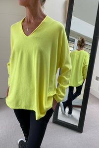 Neon Yellow Oversize V-Neck