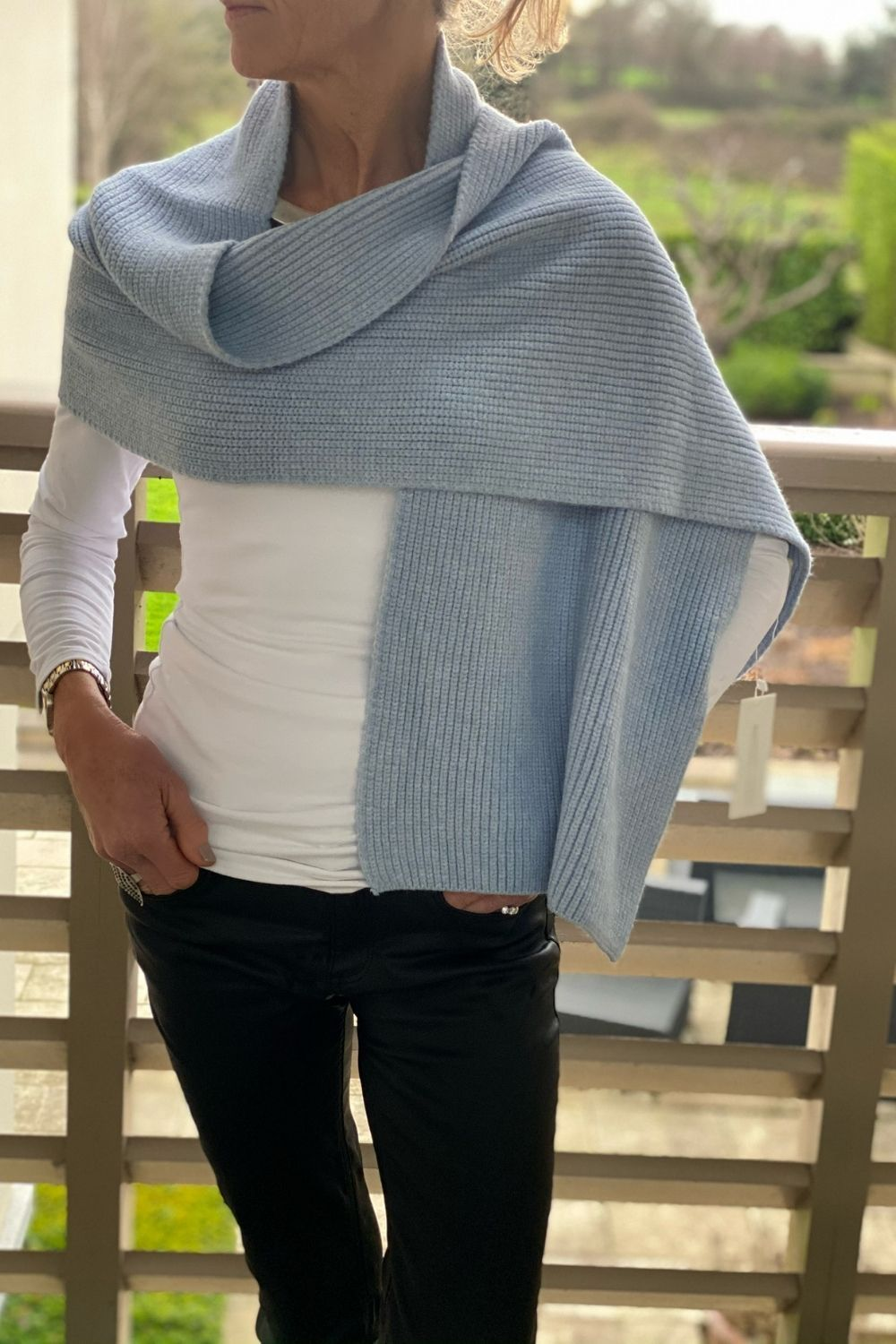 Pale Blue Ribbed Scarf