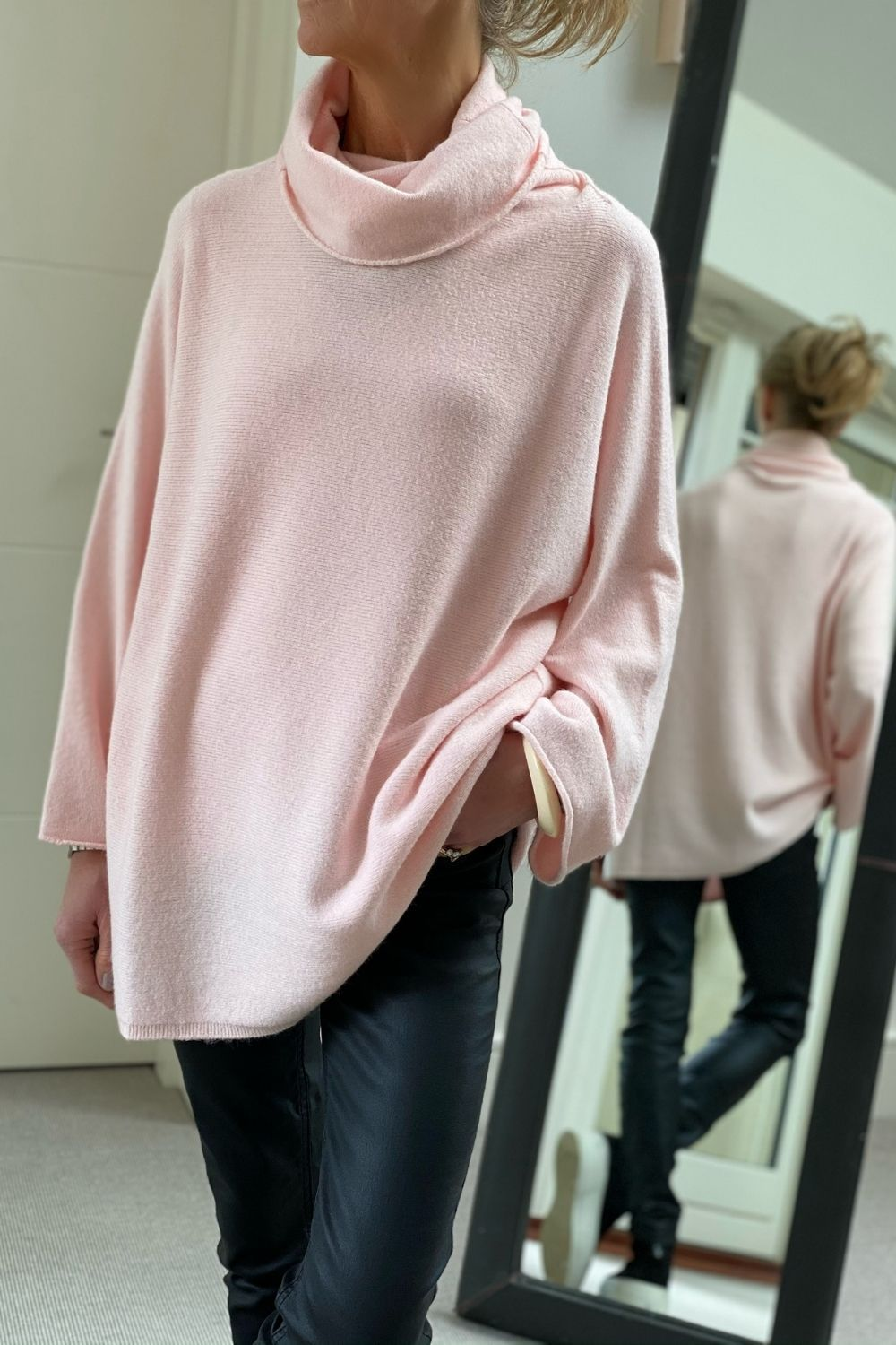 Pale Pink Oversized Cowl Polo