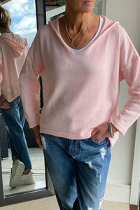 Pale Pink Hooded V-Neck Sweater
