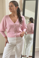 Load image into Gallery viewer, Soft Pink Bell Sleeve Short Cardi