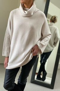 Oversized Cowl Polo in Sand