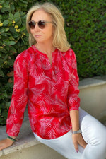 Load image into Gallery viewer, Primrose Park Sandy Palm Leaf Red Shirt