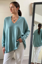 Load image into Gallery viewer, Sea Green Oversize V-Neck