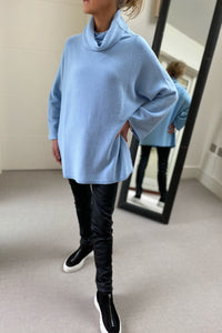 Sky Blue Oversized Cowl Polo