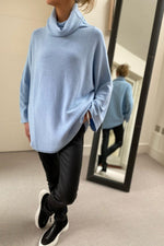Load image into Gallery viewer, Sky Blue Oversized Cowl Polo