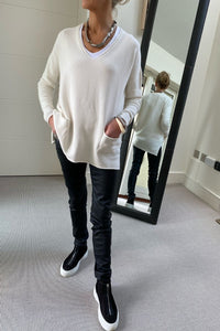 New Oversize V-Neck Two Pocket Sweater in Soft Cream