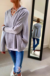 Soft Grey Two Pocket Oversized Poncho