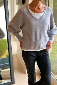 Soft Grey Bell Sleeve Short Jumper