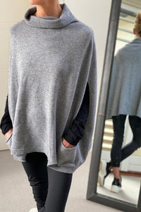 Dark Grey Sleeveless Cowl Neck