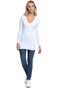 SYLVIA Long Length V-neck T-shirt in White