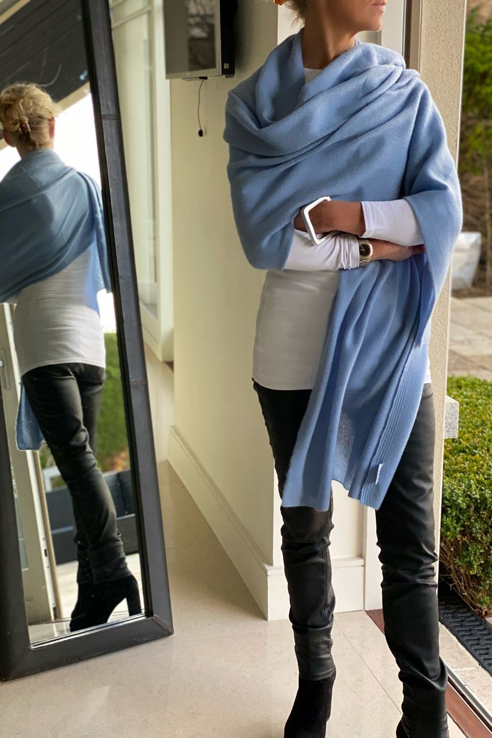 Cashmere Big Wrap in Wedgewood Blue
