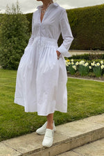 Load image into Gallery viewer, White 100% Cotton Shirt Dress