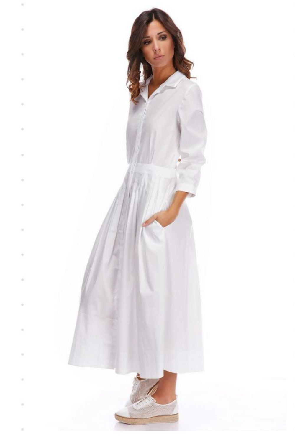 White 100% Cotton Shirt Dress