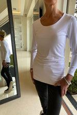 Load image into Gallery viewer, Zaza Scoop Neck Long Sleeve Tshirt White