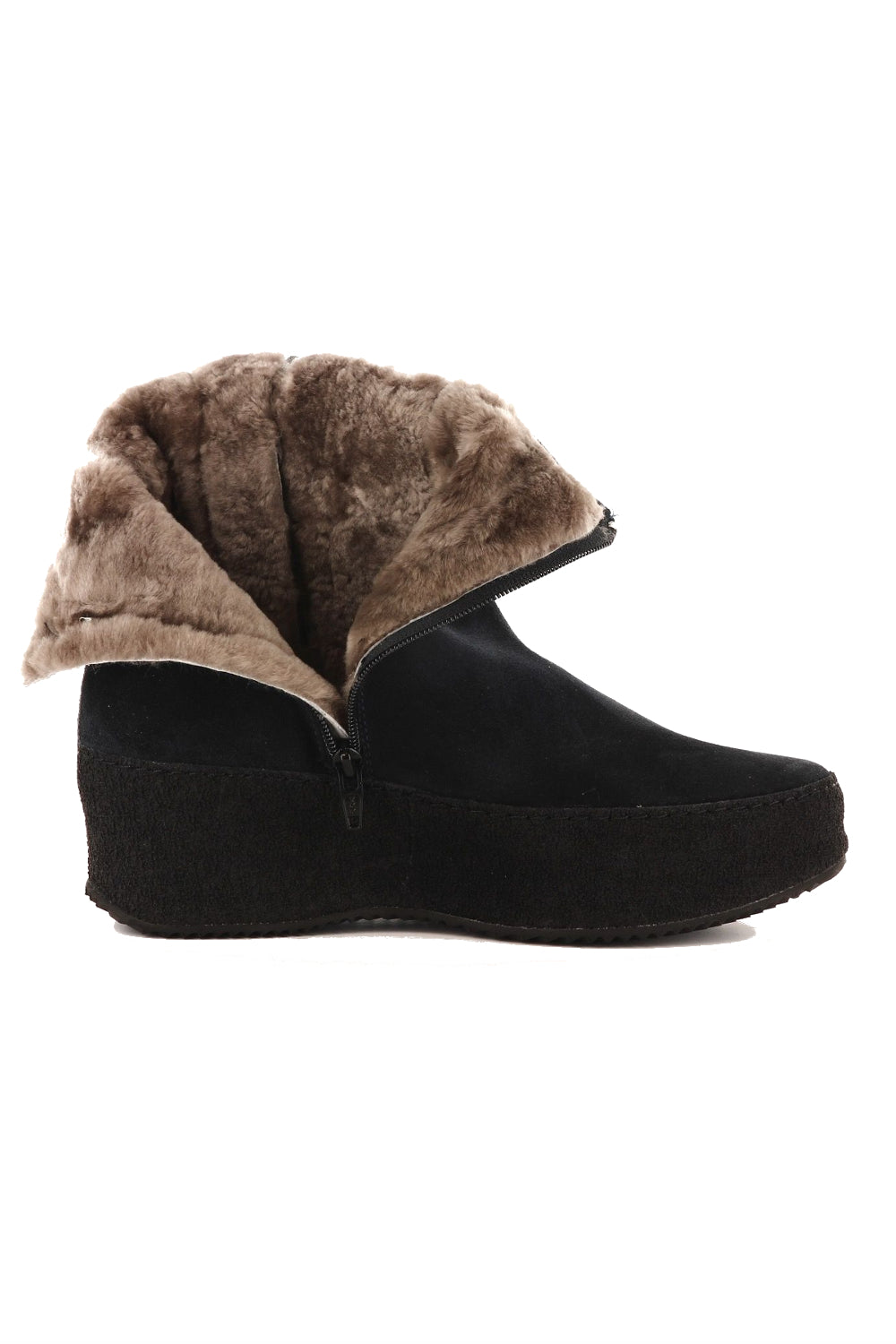 Nude of Scandinavia Curling Boot in Black Suede