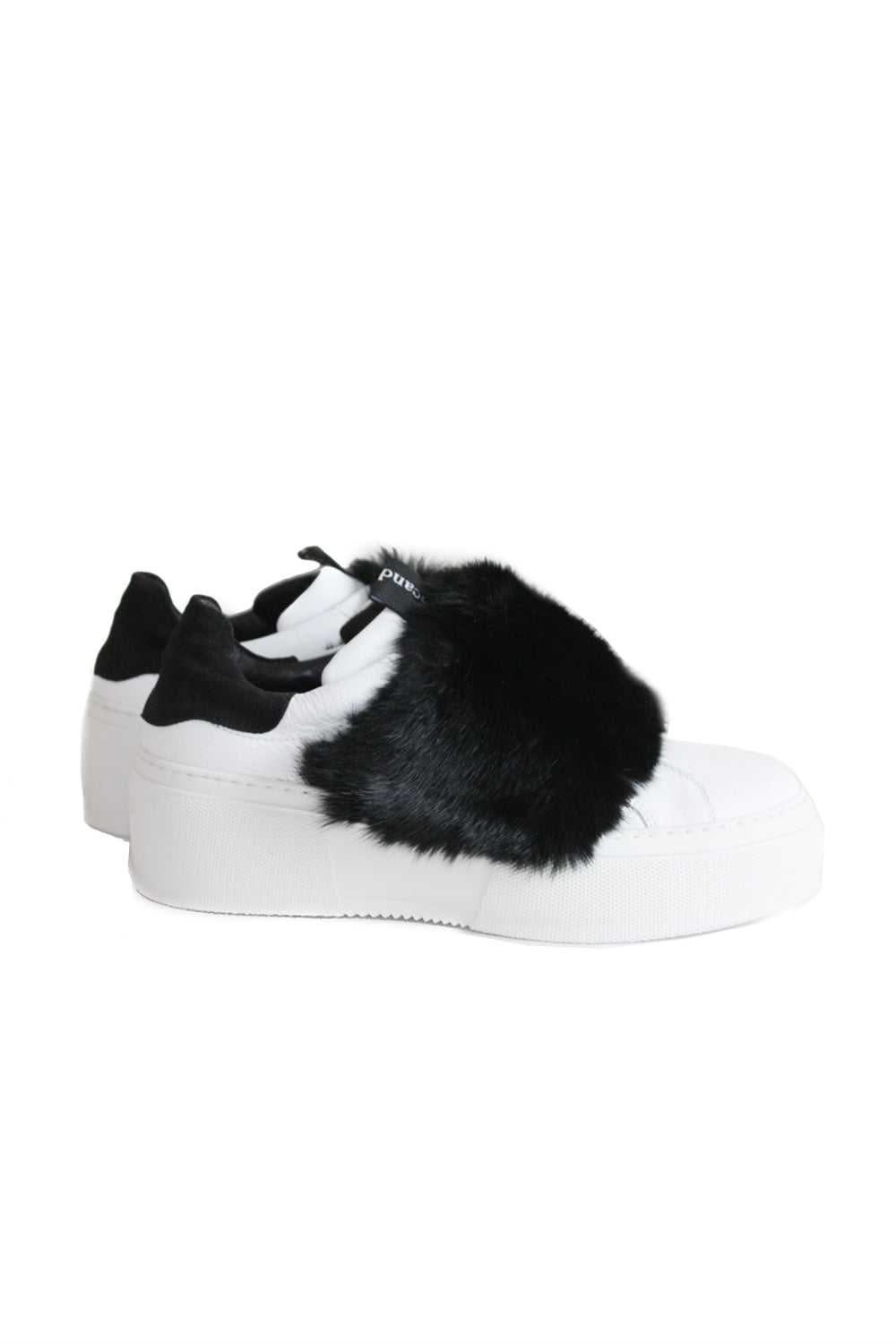 Millan Soft Leather Sneaker with Black Fur