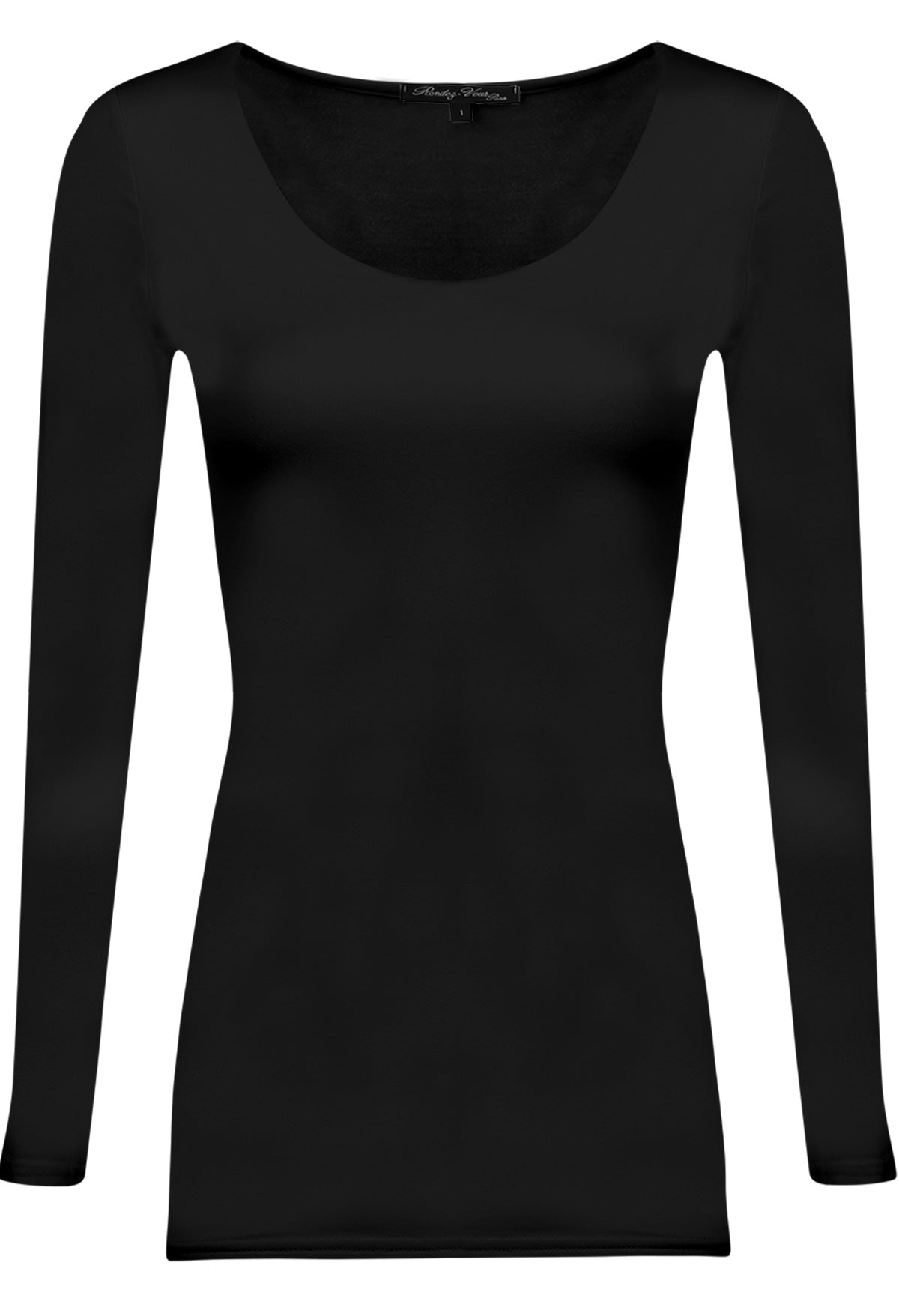 ZAZA Scoop Neck Long length  Tshirt Black