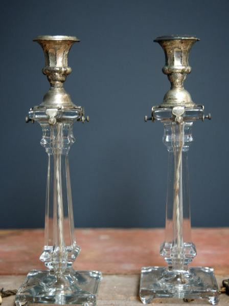 A Pair of Glass Column Lamps