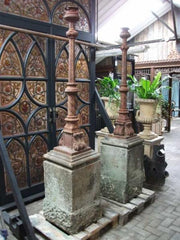 Cast Iron Lamp Standards on Stone Pedestals