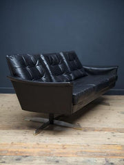 German Black Leather Sofa
