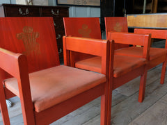 "Four Investiture ""Red"" Chairs"