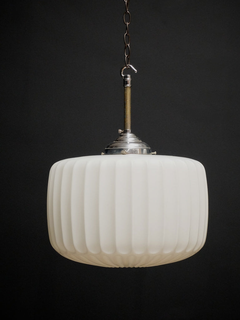 Fluted Opaline Pendant Light