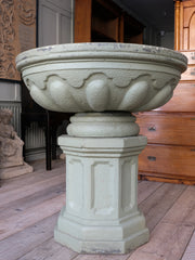 A Large Shallow Composition Stone Urn